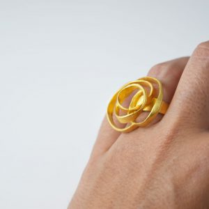 Sterling Silver Stylized Rose Round Gold Plated Ring