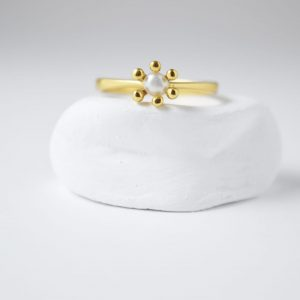 Sterling Silver Freshwater Pearl Small Flower Gold Plated Ring
