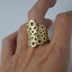 Sterling Silver Circles Net Matte Gold Plated Ring
